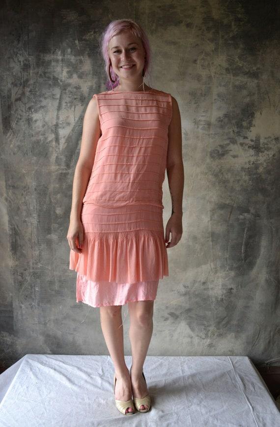 Flapper Dress 1920s Pink Silk