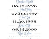 Important Dates Print - What a Difference a Day Makes, Your Family's Story, Birthdays, Wedding, Digital Art Printable, 8 x 10, Customizable