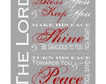 Bless You and Keep You - Scripture Art Print, Digital Printable Bible Verse Subway Art, 8 x 10, Customizable (Colors, Size, etc.)