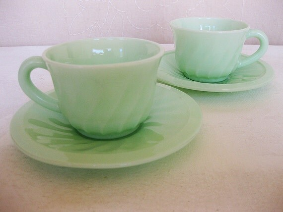 French Jadite or Duralex Milk Glass Cups and Saucers