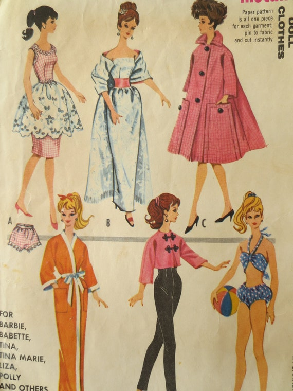 ... Doll Clothes, Teen Fashion Doll Wardrobe, 1960s Barbie Clothes Pattern