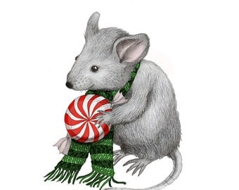 5x7 Giclee Print Christmas Mouse pencil illustration