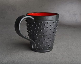 Spiky Mug Made To Order Black and Red Dangerously Spiky Coffee Mug by Symmetrical Pottery