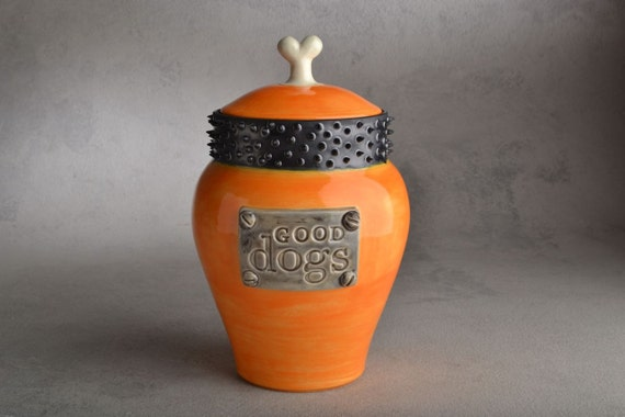 Orange Dog Treat Jar Ready To Ship Good Dogs Spiky Collar by Symmetrical Pottery
