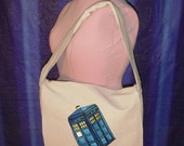 Lined Canvas Dr Who TaRDis Messsenger bag- hand screened & painted