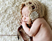 Baby bonnet, newborn hat, vintage inspired bonnet in bone with a brown ribbon tie and ivory ribbon flower - perfect for Baptism, baby gift