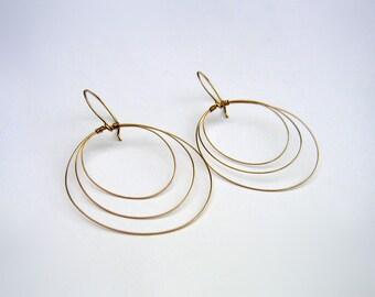Gold Open Circle Earrings 14k Gold Fill Gold Hoop Dangles Gold Drop Earrings Delicate Wire Jewelry