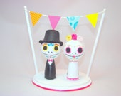 Day of the Dead Kokeshi Doll Wedding Cake Topper