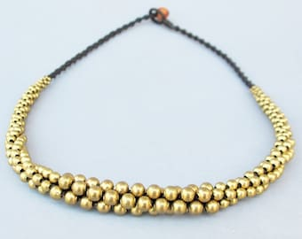 All Brass Bead Stud Necklace N198