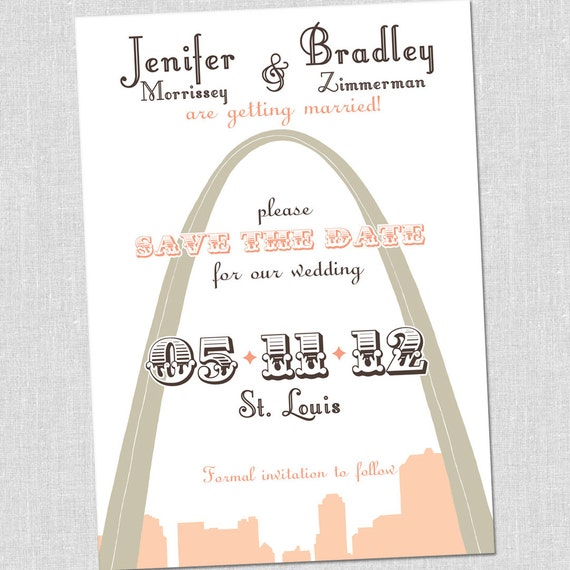 SMALL St. Louis Wedding Save the Date Card