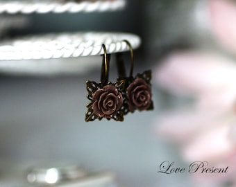 Bridesmaids Earrings - Cutie Petite Rose French Dangle Earrings with Filigree - Choose your color