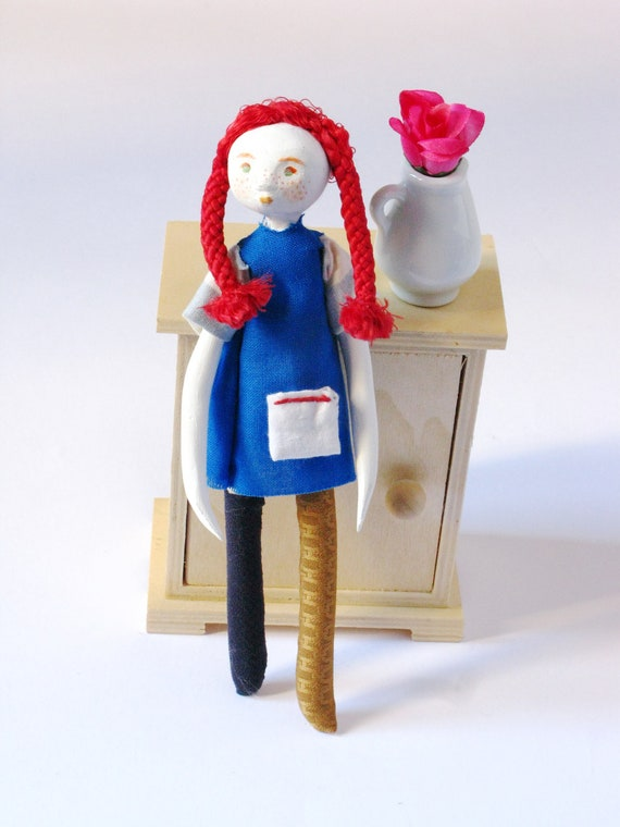 Pippi longstocking - Original Handmade Paper Clay Doll - One Of A Kind