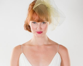 Bridal, Birdcage, Veil, grey, mustard, layered veil, blusher