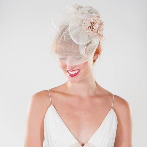 Bridal, Flower, Teardrop Fascinator, with Birdcage Veiling, SALE