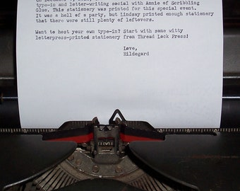 Type-in stationery - letterpress printed - typewriter paper - 10 sheets