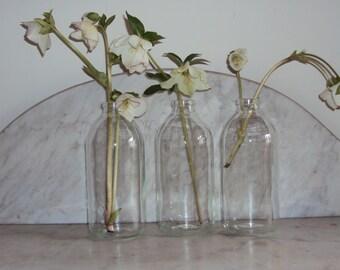 Three large size apothecary bottles, milk bottles/ vases / weddings