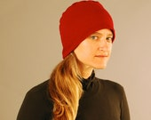 SALE Hat - Unisex -  Cranberry Red - Organic Cotton French Terry - Organic Clothing - Eco Friendly