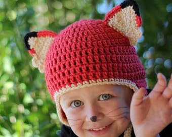 Orange Red Fox Earflap Hat Beanie for Kids or Adults - You choose the color Accessories by Julian Bean