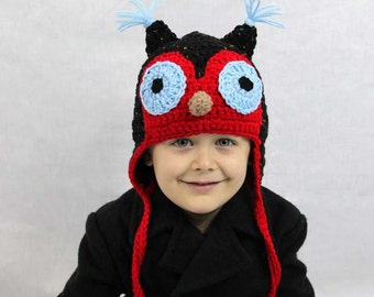 Owl Crochet Earflap Hat - Kids or Adult - Any Colors - Childrens Accessories by Julian Bean