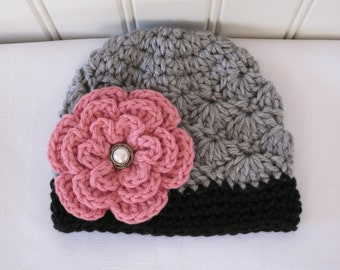 Crochet Girls Hat - Baby Hat - Winter Hat - Toddler Hat - Light Gray (Grey) & Black with Pink Flower - in sizes Newborn to 3 Years