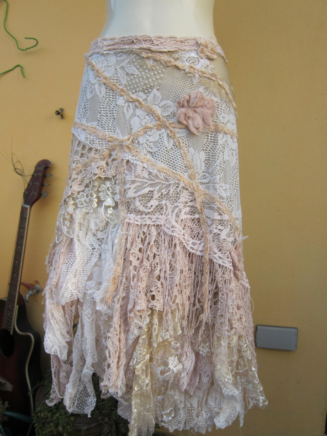vintage inspired ivory multi lace wrap skirt a work of