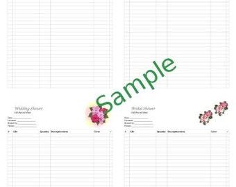 Wedding Gift Recorder, Bridal Shower, Wedding Shower GIft Record Sheet, Printable, Hot Pink Floral