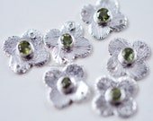 Sterling Silver Flower Connector with Peridot Gemstone 11mm - Bezel Link, 925, Station, Charm