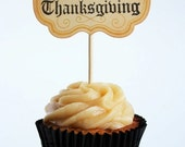 Happy Thanksgiving cupcake toppers - set of 12