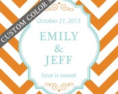 36 - Personalized Labels - Chevron Design 2.75 X 2.75 inch - ANY COLOR - wedding labels, favor labels, adhesive labels, custom labels