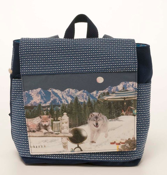 Blue Backpack featuring Wolf Mountain Print