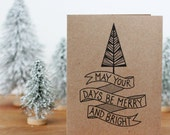 Christmas Cards Set - Set of 10 Merry and Bright Hand Lettered Holiday Cards
