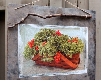 Rustic Autumn Wood Plaque, Floral Basket Photograph, Dried Hydrangeas, Bittersweet Berries, Branch Hanger