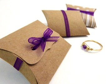 "Mini Pillow Boxes - 20 DIY Kraft favor boxes, 2"" x 1.5"" x .5"", jewelry packaging, small gift box, ribbon tie closure, natural kraft or white"