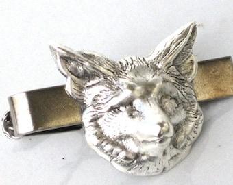 Steampunk - FOX HEAD - Men's Tie Clip Bar Clasp - Wolf - Antique Silver - By GlazedBlackCherry