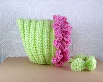 Flower Petal Baby Pixie Hat - 3 to 6 mos - green, pink or your color choice - crochet handmade photography prop by Sandy Coastal Designs