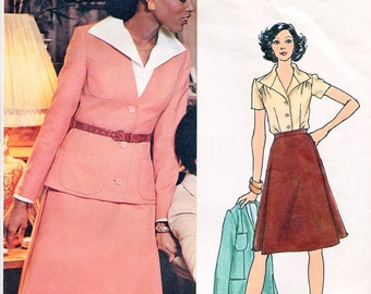 Vogue 1039 Valentino Vintage Jacket Skirt Blouse Suit Sewing Pattern Couturier Design B34