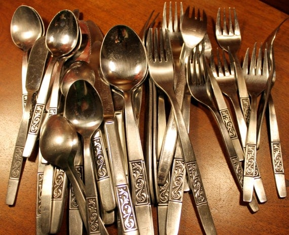 Vintage Stainless Steel Flatware from Amefa in Royal Damask Pattern (35 Pieces) Mid Century Modern Silverware
