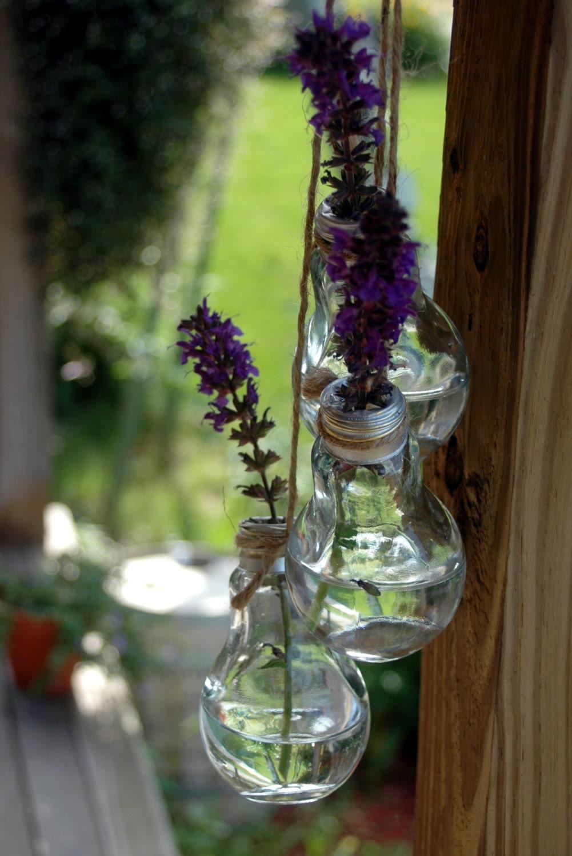 3 Glass Light Bulb Flower Vase Stem holder collection for
