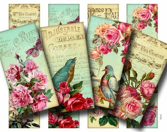Vintage French Birds Roses Digital Collage Sheet SUMMER BREEZE Printable Images Scrapbooking Tags Bookmarks Cards Art GalleryCat CS203