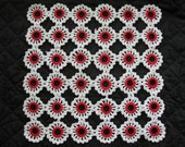 Vintage White and Red lovely square doily. 11 inches