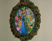 RESERVED FOR ANA - 3D Peacock Cameo in Peacock Feather Covered Frame - Free Shipping