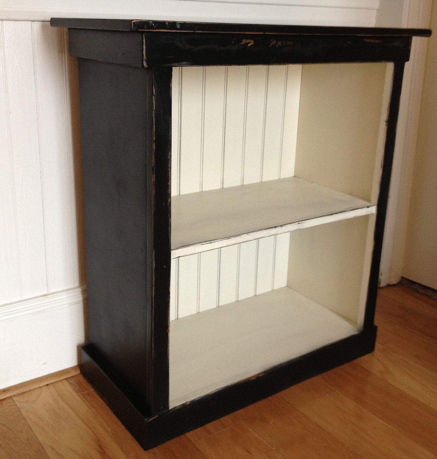 Bookcase Black Cream Distressed Wood Small By