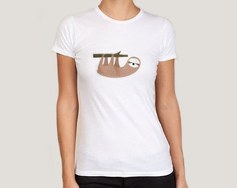 Sloth t-shirt, womens. White, pink or cream.