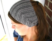 Grey Ear Warmer Headband with Button Closure