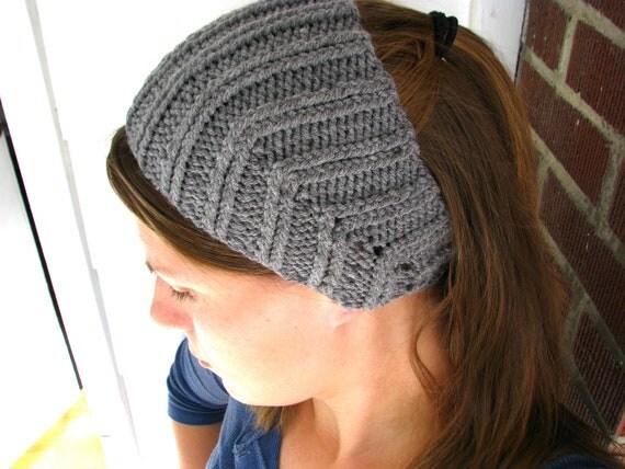 Knit Headband Pattern Button Closure : Grey Knit Ear Warmer Headband Button Closure Lightweight One