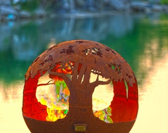 Tree of Life Fire Pit Sphere - Hand Cut Steel Sculptural Firepit