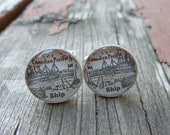 Vintage 1926 Canadian Pacific Ships Advertisement Cuff links (Cufflinks) Silver Plated