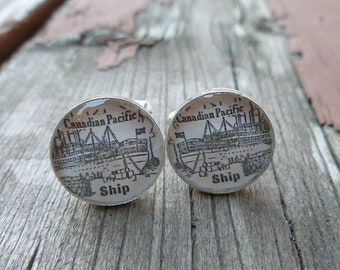 Vintage 1926 Canadian Pacific Ships Advertisement Resin Cuff links (Cufflinks) Silver Plated