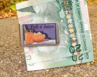 Full o' Juice Vintage Fruit Crate Label Moneyclip (Bill fold)