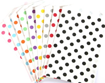 50% OFF SALE - 25 Polka Dot Treat Bags (Party or Wedding Favor Bags, Scrapbooking, Gift Wrap, Envelopes) - 5 x 7.5 inches